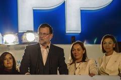 Presidente Mariano Rajoy ed il discorso dei ministri che celebra i risultati elettorali Fotografia Stock Libera da Diritti
