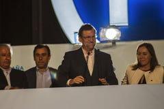 Presidente Mariano Rajoy y el discurso de los ministros que celebra resultados de elección fotos de archivo libres de regalías