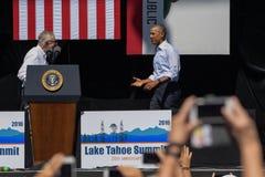 Presidente Obama con senador Reid en la vigésima cumbre anual 6 del lago Tahoe Foto de archivo libre de regalías
