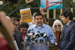 Presidente ocidental unido SEIU-USWW David Huerta dos trabalhadores do serviço imagens de stock royalty free