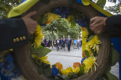 Presidente Petro Poroshenko en el mem del punto cero del World Trade Center Imagen de archivo libre de regalías