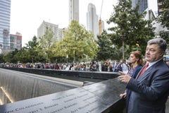 Presidente Petro Poroshenko en el mem del punto cero del World Trade Center Foto de archivo