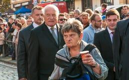 Presidente Vaclav Klaus, pellegrinaggio nazionale, Boleslav anziano, 28 9 2017 Fotografia Stock Libera da Diritti