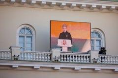 Presidenten Dalia Grybauskaite levererar ett anförande Royaltyfri Bild