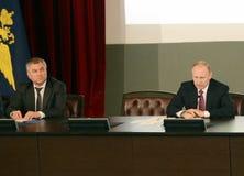 Presidenten från den ryska federationen Vladimir Putin och ordförande av den statliga Dumaen av den federala enheten av den ryska Arkivbild