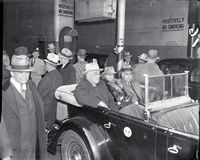 Presidenten Franklin D Roosevelt ankommer i NYC Arkivfoton