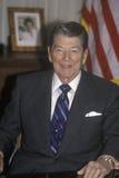 Presidenten Reagan framlägger en inledning för Horatio Alger Association Arkivbilder
