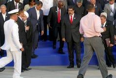 Presidenter av delegationer poserar för det officiella fotografiet i den 17th toppmötet av den alliansfria rörelsen Royaltyfria Bilder