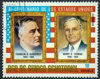 Presidenter av USA Franklin D Roosevelt och Harry S Truman som firar minnet av tvåhundraårsdagen av Förenta staterna Royaltyfria Bilder