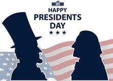 Presidentes felices Day en fondo de los E.E.U.U. Siluetas de George Washington y de Abraham Lincoln con la bandera como fondo stock de ilustración