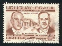 Presidentes Jorge Pacheco Areco de Uruguai e Arthur Costa Foto de Stock Royalty Free