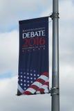 Presidentiële debat 2016 banner bij Hofstra-Universiteit in Hempstead, New York Royalty-vrije Stock Foto