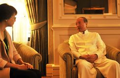 Presidenti Chen Feng, miliardario cinese del gruppo di HNA all'hotel di Dolder nei ricchi del ¼ di ZÃ immagini stock