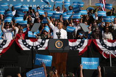 Presidential Candidate Barack Obama. Waving to crowd  during rally campaign in Las Vegas Stock Images