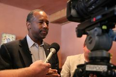Presidential Candidate Ben Carson. Presidential Candidate, Dr. Ben Carson, addresses the media at a campaign stop in Sioux Center, IA on June 25, 2015 Royalty Free Stock Photos