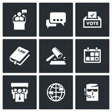 Presidential candidate and elections icons set. Vector Illustration. Stock Images