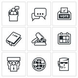 Presidential candidate and elections icons set. Vector Illustration. Stock Photos