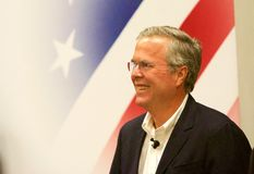 Presidential Candidate Jeb Bush. Presidential Candidate, Jeb Bush, greets the audience at a public gathering in Sioux City, IA Royalty Free Stock Photos