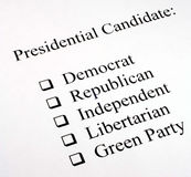 Presidential Candidate Selection Royalty Free Stock Photos