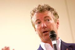 Presidential Candidate Senator Rand Paul. Presidential Candidate, Senator Rand Paul, addresses the public at a campaign stop in Sioux Center, IA on July 1, 2015 Stock Photo