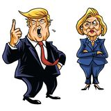 Presidential Candidates Donald Trump Vs Hillary Clinton. In Cartoon Illustration Royalty Free Stock Image