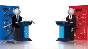 Presidential Debate. 3D render image representing a presidential debate Royalty Free Stock Image