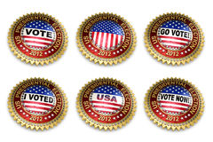 Presidential Election 2012 Buttons. Set of six 2012 US presidential election buttons over white background including clipping paths Stock Images