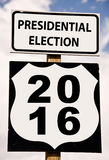 Presidential election 2016 on american roadsign stock photos