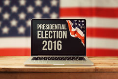 Presidential Election 2016 background with laptop computer Stock Image