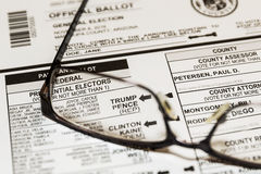 2016 Presidential Election Ballot Royalty Free Stock Photos