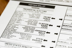 2016 Presidential Election Ballot Royalty Free Stock Images