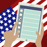 2016 Presidential Election Banner.Online voting. 2016 Presidential election banner. American flag,tablet in someone's hands. Opened web page of the electronic Royalty Free Stock Photography