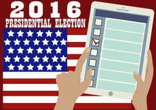 2016 Presidential Election Banner.Online voting. 2016 Presidential election banner. American flag,tablet in someone's hands. Opened web page of the electronic Royalty Free Stock Image