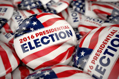 2016 Presidential Election Buttons. Closeup shot of one presidential election button in focus in between many other buttons in a box. Selective focus with Royalty Free Stock Images