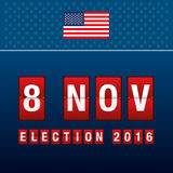 Presidential election day. 8 th november of mechanical scoreboar. D. Vector illustration Royalty Free Stock Images