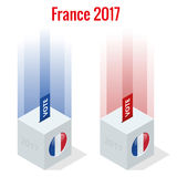 Presidential Election in France 2017, ballot box in front.  vector illustration