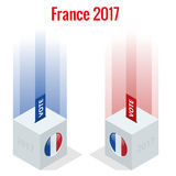 Presidential Election in France 2017, ballot box in front.  royalty free illustration