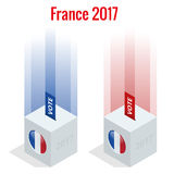 Presidential Election in France 2017, ballot box in front.  Royalty Free Stock Images