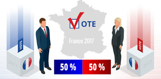 Presidential Election in France 2017, ballot box in front.  stock illustration