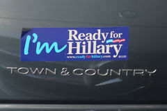 Presidential election 2016 `I`m Ready for Hillary` bumper sticker Stock Photos