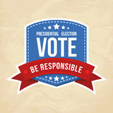 Presidential election label. Vector illustration Stock Photo