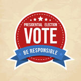 Presidential election label. Vector illustration Stock Photography