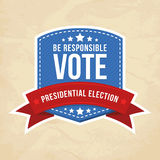 Presidential election label. Vector illustration Stock Photos