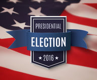 Presidential election 2016 poster template. Blue badge with ribbon on top of American flag. Vector illustration Stock Image