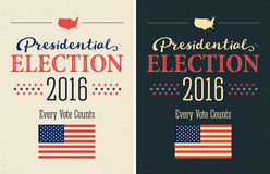 Presidential Election 2016 Posters set. Vintage style design. Vertical format. Stock Photo