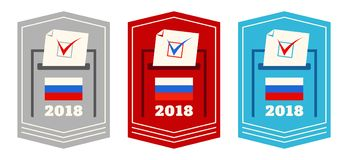 Presidential election in Russia. Vote. Vector set web banners with boxes for voting in Russia. Presidential election in Russia Royalty Free Stock Photos