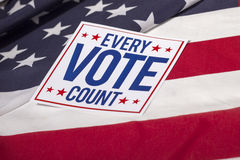 Presidential Election Vote and American Flag. Every Vote count and American Flag Royalty Free Stock Images