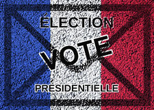 Presidential election vote. Text in french presidential election vote on ballot and french flag background Royalty Free Stock Images