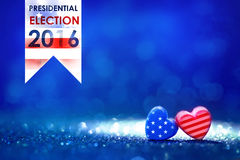Presidential Election Vote 2016 in USA with American flag Heart. Shapes on abstract light glitter Royalty Free Stock Photos