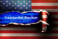 Presidential Election Vote 2016 in USA with flag Background. Presidential Election Vote 2016 in USA with flag  Torn Paper Background Royalty Free Stock Photos